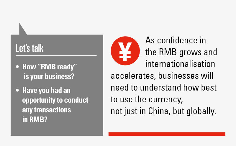 Greater use of RMB globally